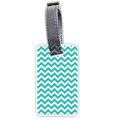 Turquoise & White Zigzag Pattern Luggage Tag (two Sides) by Zandiepants