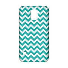 Turquoise & White Zigzag Pattern Samsung Galaxy S5 Hardshell Case  by Zandiepants