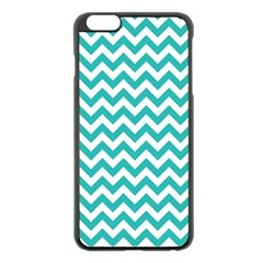 Turquoise & White Zigzag Pattern Apple Iphone 6 Plus/6s Plus Black Enamel Case by Zandiepants