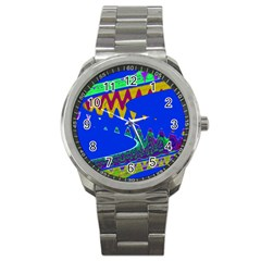 Colorful Wave Blue Abstract Sport Metal Watch by BrightVibesDesign