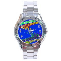 Colorful Wave Blue Abstract Stainless Steel Analogue Watch by BrightVibesDesign