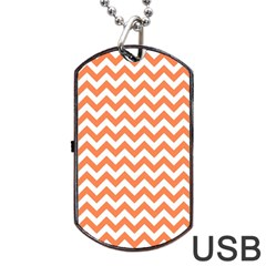 Tangerine Orange & White Zigzag Pattern Dog Tag Usb Flash (one Side) by Zandiepants