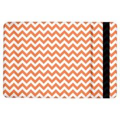 Tangerine Orange & White Zigzag Pattern Apple Ipad Air Flip Case by Zandiepants