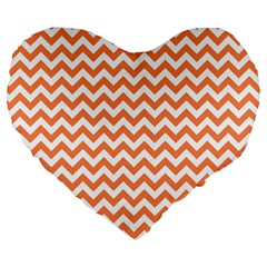 Tangerine Orange & White Zigzag Pattern Large 19  Premium Flano Heart Shape Cushion by Zandiepants