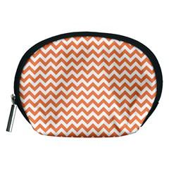 Tangerine Orange & White Zigzag Pattern Accessory Pouch (medium) by Zandiepants