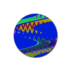 Colorful Wave Blue Abstract Rubber Round Coaster (4 Pack)  by BrightVibesDesign