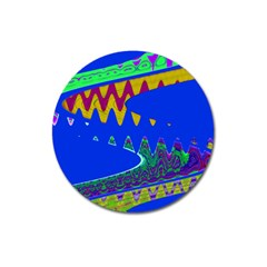 Colorful Wave Blue Abstract Magnet 3  (Round) by BrightVibesDesign