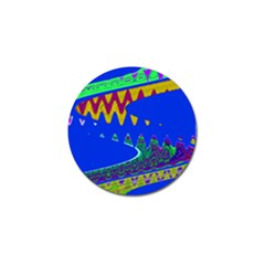 Colorful Wave Blue Abstract Golf Ball Marker (10 Pack) by BrightVibesDesign
