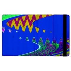Colorful Wave Blue Abstract Apple Ipad 2 Flip Case by BrightVibesDesign