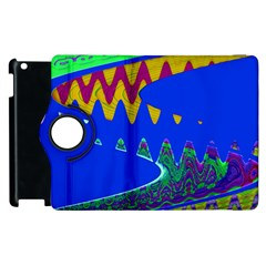 Colorful Wave Blue Abstract Apple iPad 3/4 Flip 360 Case by BrightVibesDesign