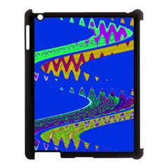 Colorful Wave Blue Abstract Apple Ipad 3/4 Case (black) by BrightVibesDesign