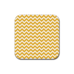 Sunny Yellow & White Zigzag Pattern Rubber Coaster (Square) by Zandiepants
