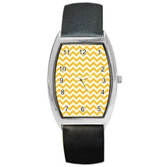Sunny Yellow & White Zigzag Pattern Barrel Style Metal Watch by Zandiepants