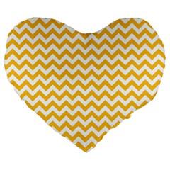 Sunny Yellow & White Zigzag Pattern Large 19  Premium Flano Heart Shape Cushion by Zandiepants