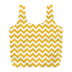 Sunny Yellow & White Zigzag Pattern Full Print Recycle Bag (l) by Zandiepants