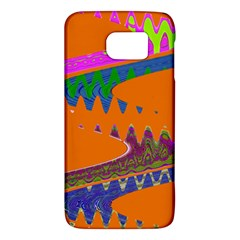 Colorful Wave Orange Abstract Galaxy S6 by BrightVibesDesign