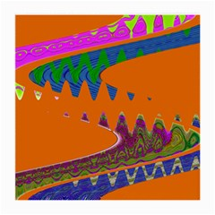 Colorful Wave Orange Abstract Medium Glasses Cloth by BrightVibesDesign