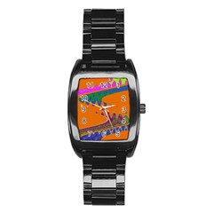 Colorful Wave Orange Abstract Stainless Steel Barrel Watch by BrightVibesDesign