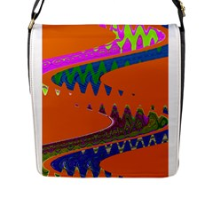 Colorful Wave Orange Abstract Flap Messenger Bag (l)  by BrightVibesDesign