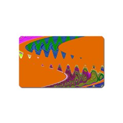 Colorful Wave Orange Abstract Magnet (name Card) by BrightVibesDesign