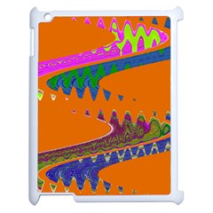 Colorful Wave Orange Abstract Apple Ipad 2 Case (white) by BrightVibesDesign