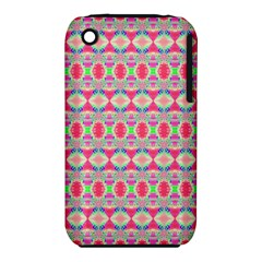Pretty Pink Shapes Pattern Apple Iphone 3g/3gs Hardshell Case (pc+silicone) by BrightVibesDesign