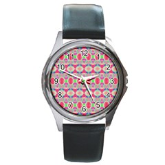 Pretty Pink Shapes Pattern Round Metal Watch by BrightVibesDesign