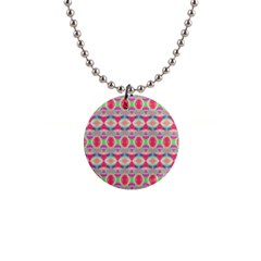 Pretty Pink Shapes Pattern Button Necklaces by BrightVibesDesign