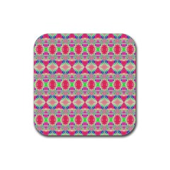 Pretty Pink Shapes Pattern Rubber Coaster (square)  by BrightVibesDesign