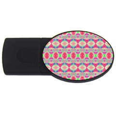 Pretty Pink Shapes Pattern Usb Flash Drive Oval (2 Gb)  by BrightVibesDesign