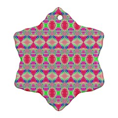 Pretty Pink Shapes Pattern Ornament (snowflake)  by BrightVibesDesign