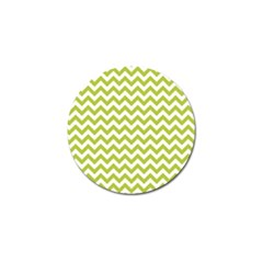 Spring Green & White Zigzag Pattern One Piece Boyleg Swimsuit Golf Ball Marker by Zandiepants