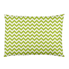 Spring Green & White Zigzag Pattern Pillow Case by Zandiepants