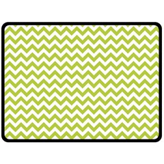 Spring Green & White Zigzag Pattern Double Sided Fleece Blanket (Large) by Zandiepants