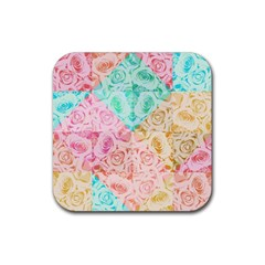 A Rose Is A Rose Rubber Square Coaster (4 Pack)  by hennigdesign