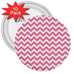 Soft Pink & White Zigzag Pattern 3  Button (10 Pack) by Zandiepants