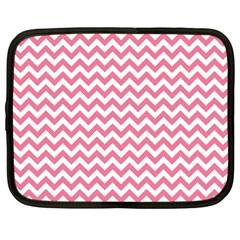 Soft Pink & White Zigzag Pattern Netbook Case (large) by Zandiepants