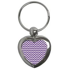 Royal Purple & White Zigzag Pattern Key Chain (heart) by Zandiepants