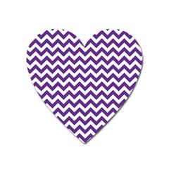 Royal Purple & White Zigzag Pattern Magnet (heart) by Zandiepants