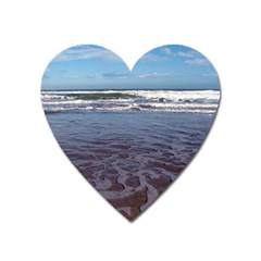 Ocean Surf Beach Waves Heart Magnet by CrypticFragmentsColors