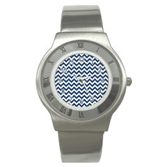 Navy Blue & White Zigzag Pattern Stainless Steel Watch by Zandiepants