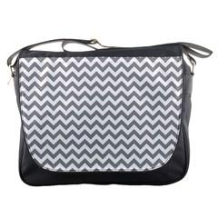 Medium Grey & White Zigzag Pattern Messenger Bag by Zandiepants