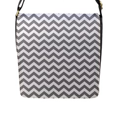 Medium Grey & White Zigzag Pattern Flap Closure Messenger Bag (l) by Zandiepants