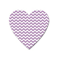 Lilac Purple & White Zigzag Pattern Magnet (heart) by Zandiepants