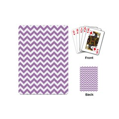 Lilac Purple & White Zigzag Pattern Playing Cards (mini) by Zandiepants