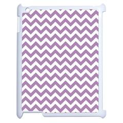 Lilac Purple & White Zigzag Pattern Apple Ipad 2 Case (white) by Zandiepants