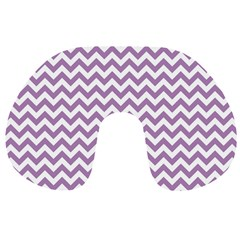 Lilac Purple & White Zigzag Pattern Travel Neck Pillow by Zandiepants