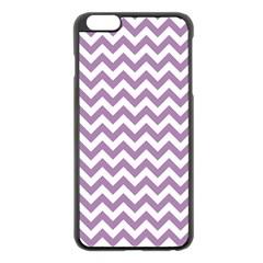 Lilac Purple & White Zigzag Pattern Apple Iphone 6 Plus/6s Plus Black Enamel Case by Zandiepants