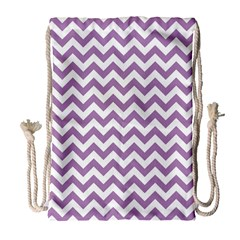 Lilac Purple & White Zigzag Pattern Drawstring Bag (large) by Zandiepants