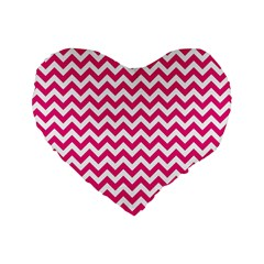 Hot Pink & White Zigzag Pattern Standard 16  Premium Flano Heart Shape Cushion  by Zandiepants